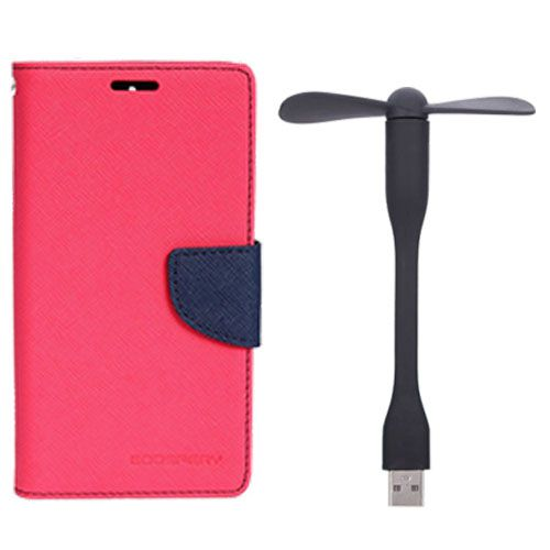 Wallet Flip Case Back Cover For Lenovo A7000 - (Pink)+Flexible Stylish Mini USB Fan in Black color By Style Crome