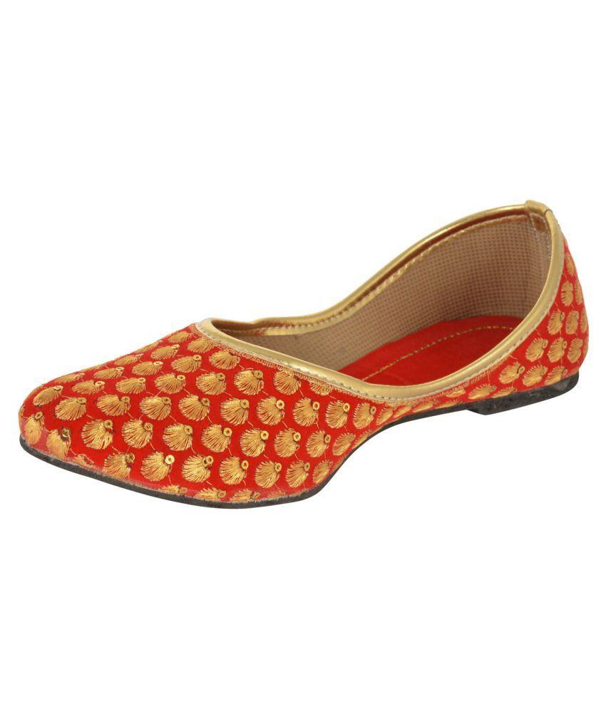 Rajasthani Prints Red Flat Ethnic Footwear