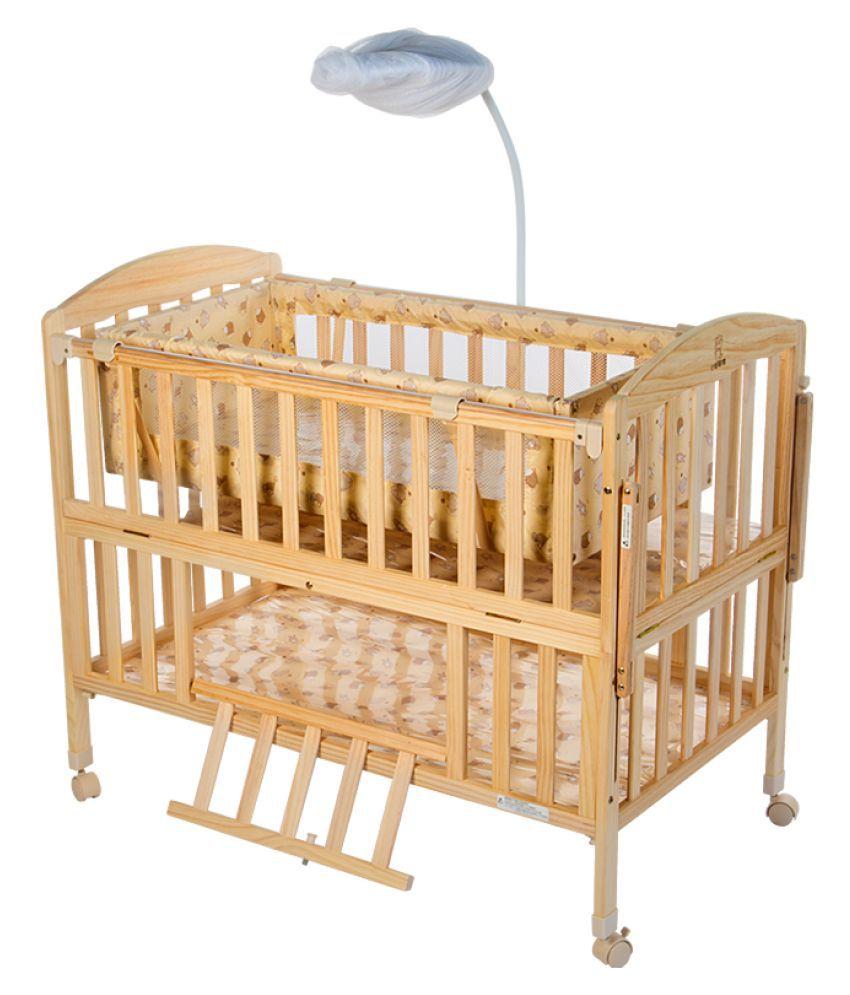Mee Mee Baby Wooden Cot With Swing Amp Mosquito Net Buy