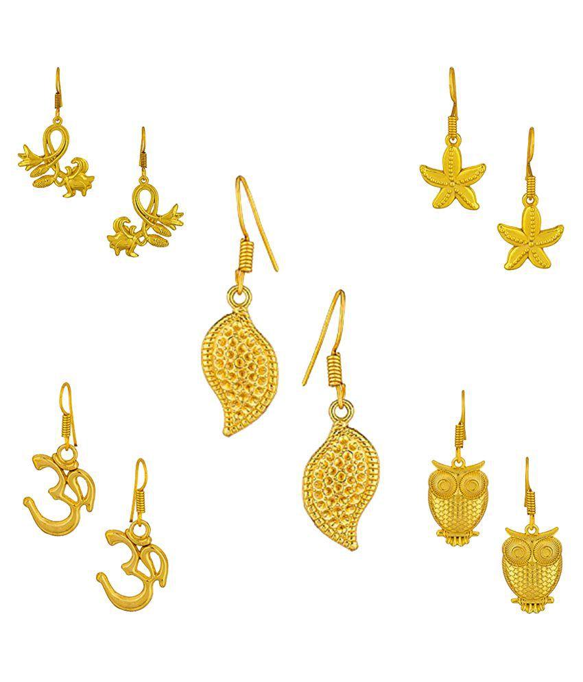 Factorywala Golden Earrings Combo - Pack of 5