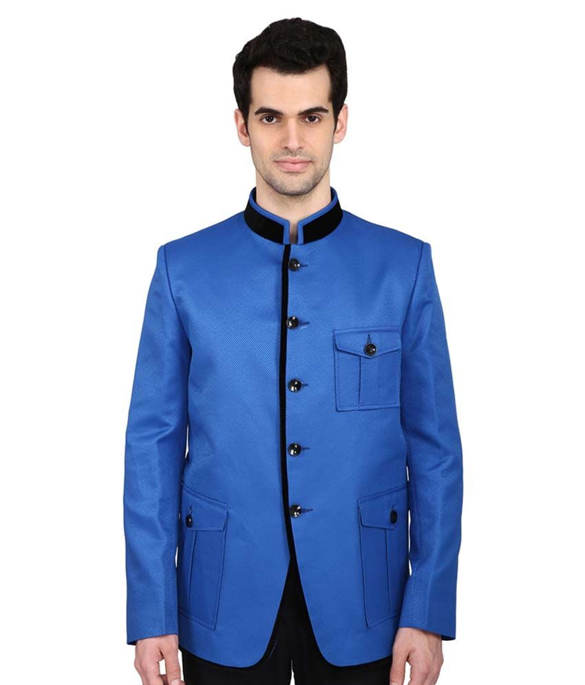 Indian Attire Blue Solid festive Tuxedo
