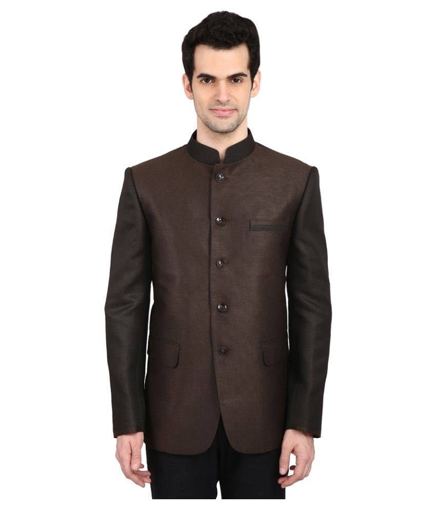 Indian Attire Brown Solid festive Tuxedo