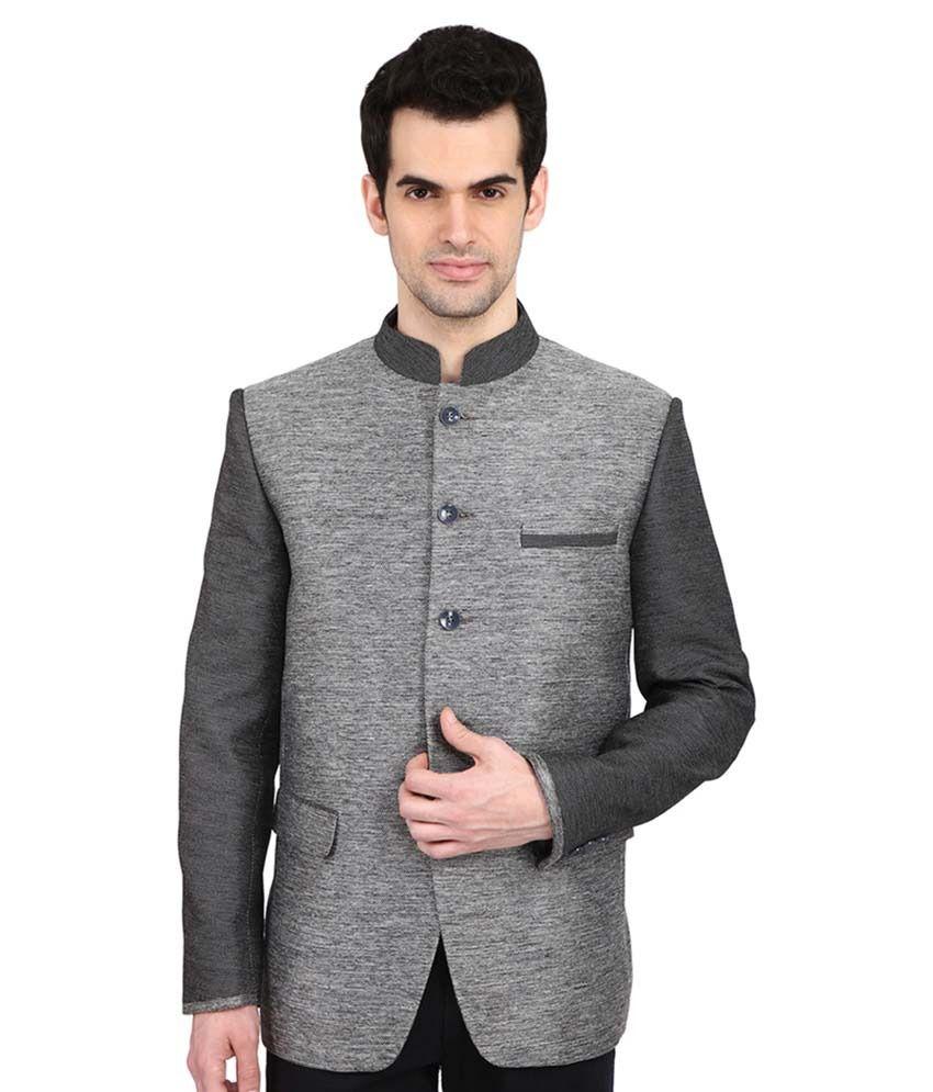 Indian Attire Grey Solid festive Tuxedo