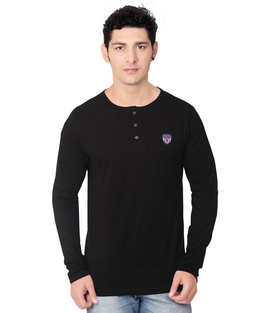 Free Spirit Black Henley T Shirt