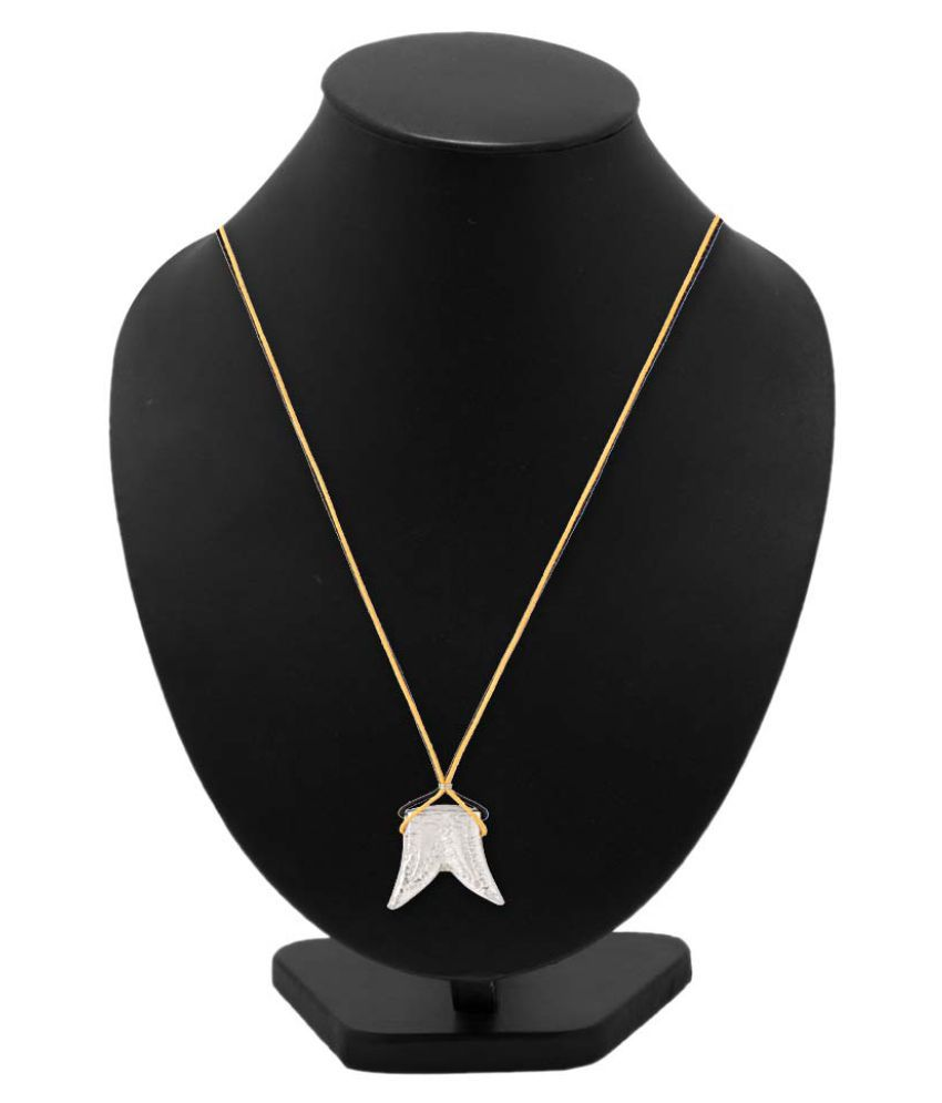 Dare by Voylla silver tone pendant with yellow and black thread strings