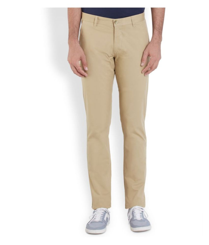 Parx Beige Regular Flat Trouser