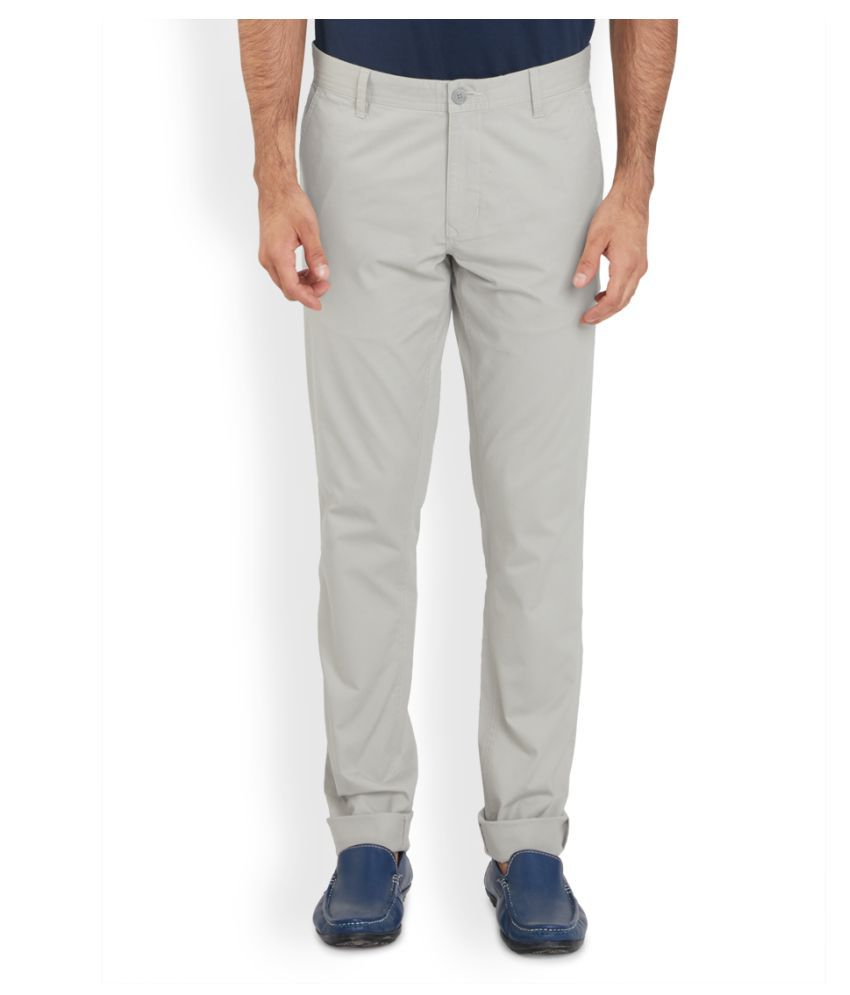 Parx Off White Regular Flat Trouser