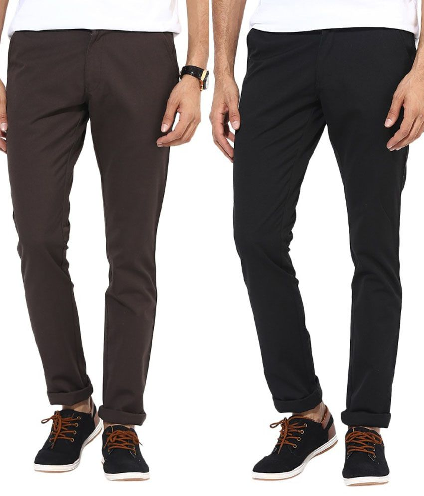 Bukkl Combo Of Multicolor Slim Fit Casual Chinos
