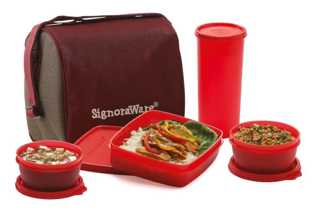 Signoraware Plastic Best Lunch Box Jumbo with Bag (Set of 4)