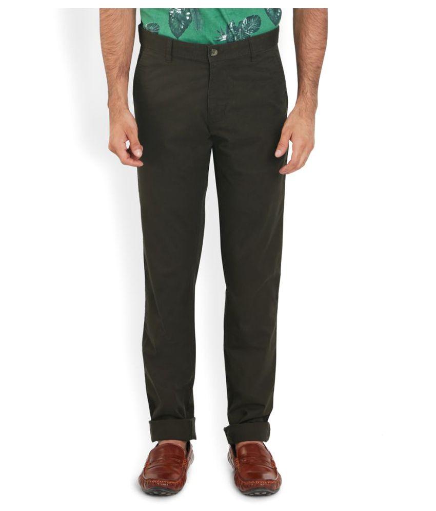 Parx Green Regular Flat Trouser
