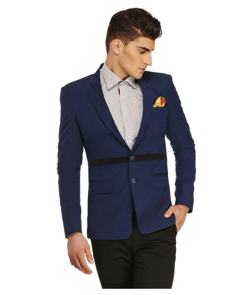 Ennoble Blue Solid Casual Tuxedo