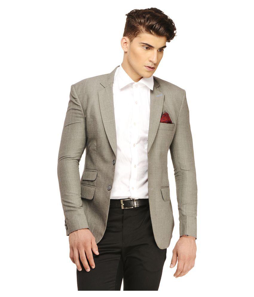 Ennoble Grey Checks Casual Tuxedo