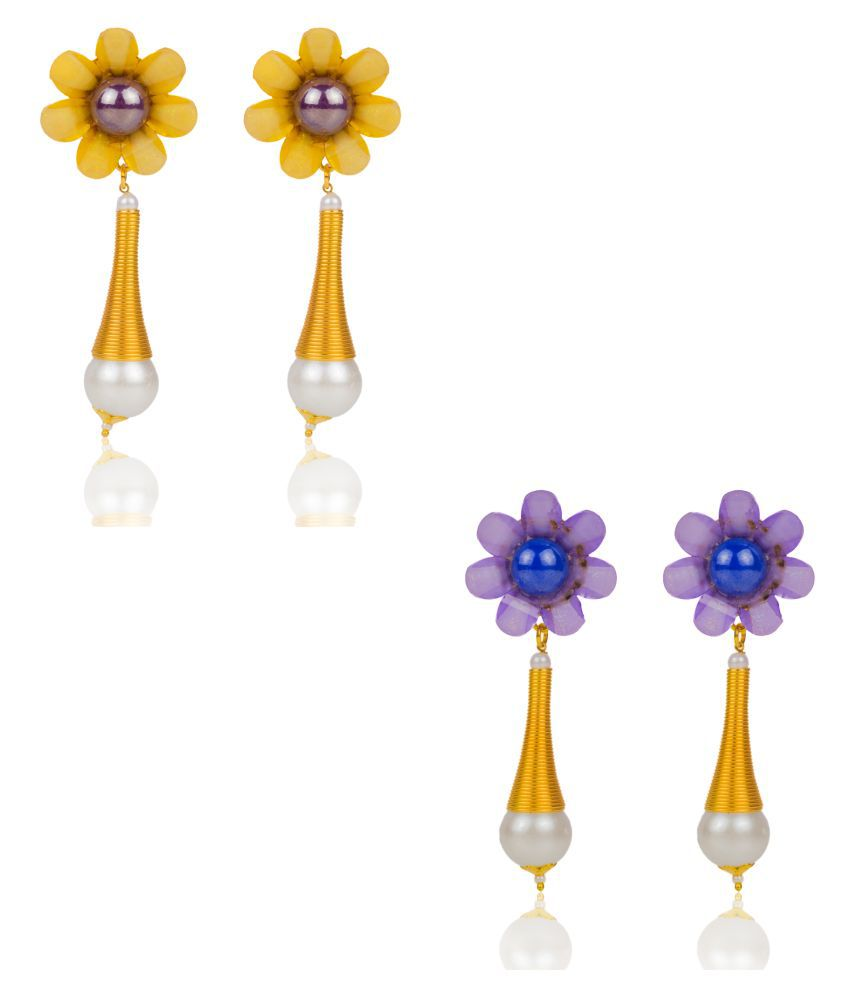 Makezak Multicolour Drop Earrings - Pair of 2