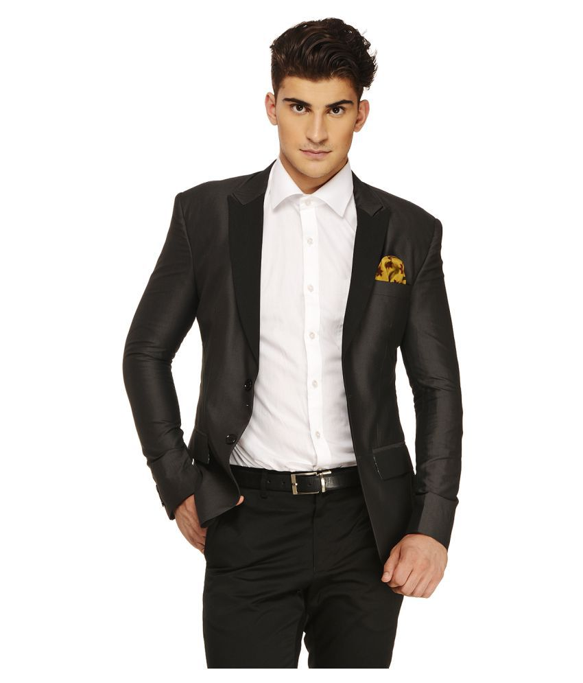 Ennoble Black Solid Casual 2 Piece Suits