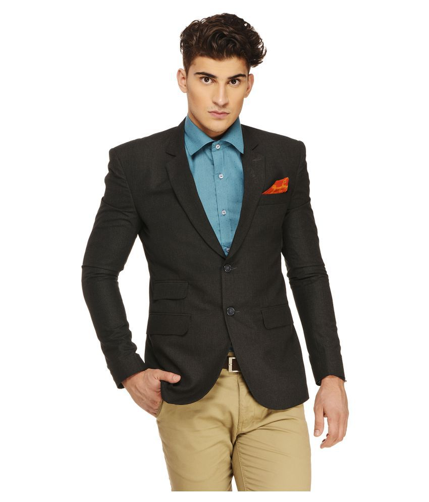 Ennoble Black Checks Casual 2 Piece Suits
