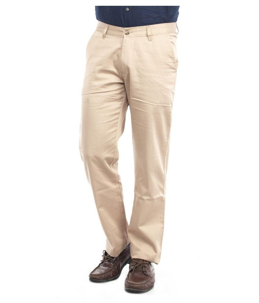 Thunder Beige Regular Flat Trouser