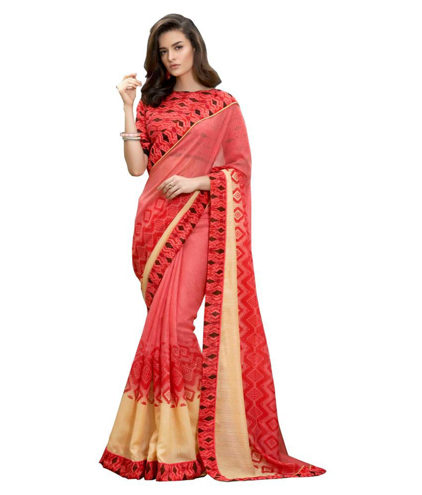 Fashiondeal Red Georgette Saree