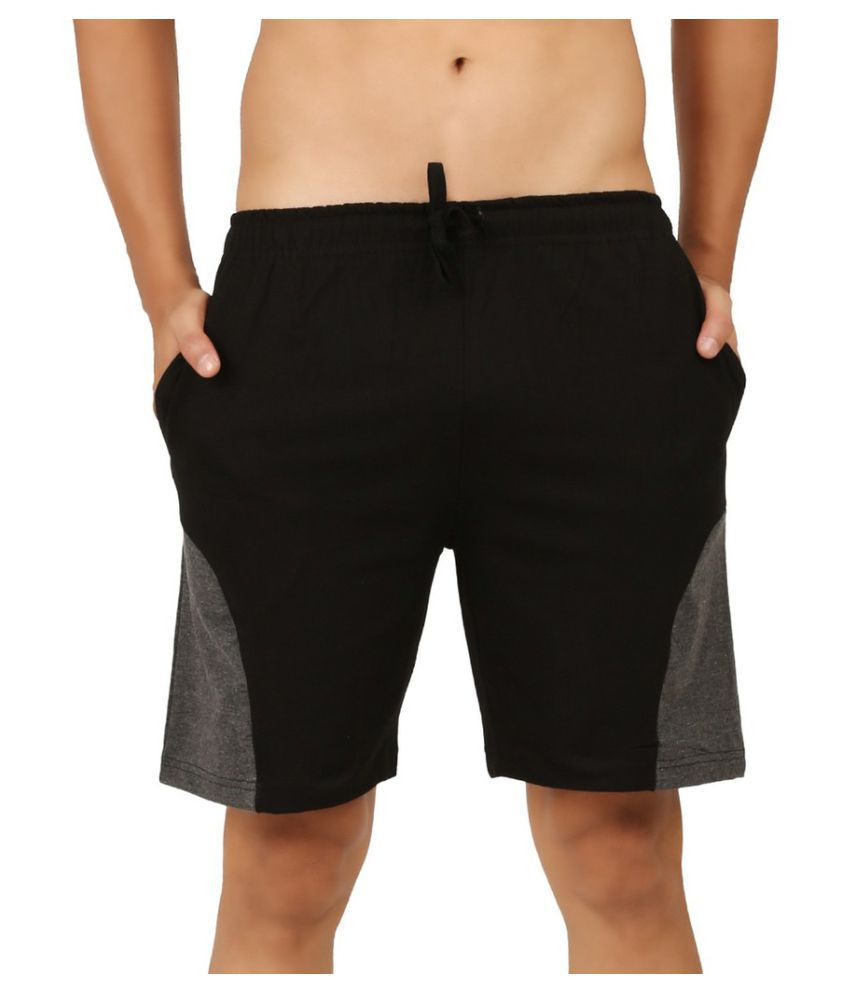 Clifton Black Cotton Shorts