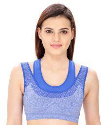 Dealseven Fashion Blue Cotton Lycra T-Shirt/ Seamless Bra