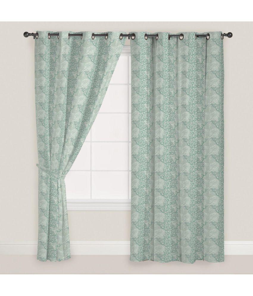 Presto Set of 2 Door Eyelet Curtains Printed Green