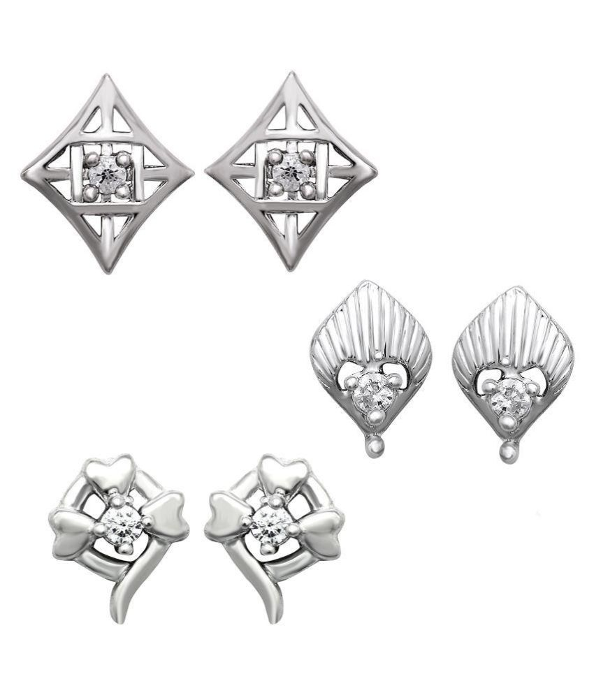 Om Jewells White Earrings - Pack of 3
