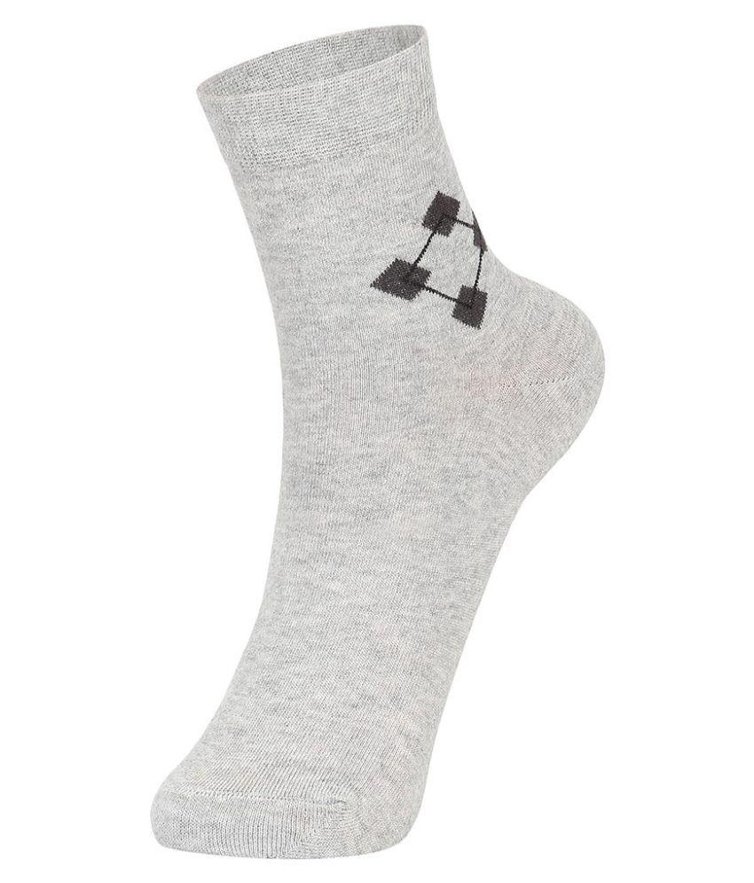 Dukk Gray Casual Ankle Length Socks