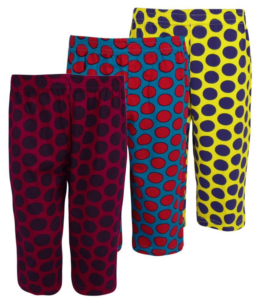 Weecare Multicolour Cotton Capris for Girls - Pack of 3