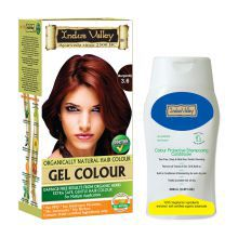 Indus Valley Organically Natural Gel Burgundy 3.6 Gentle Hair Color & Colour Protective Shampooing Conditioner- Combo Pack