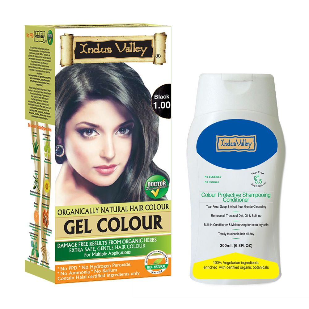 Indus Valley Organically Natural Gel Black 100 Ammonia Free Hair