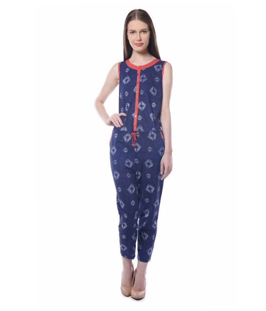 Triyaa Blue Cotton Jumpsuits