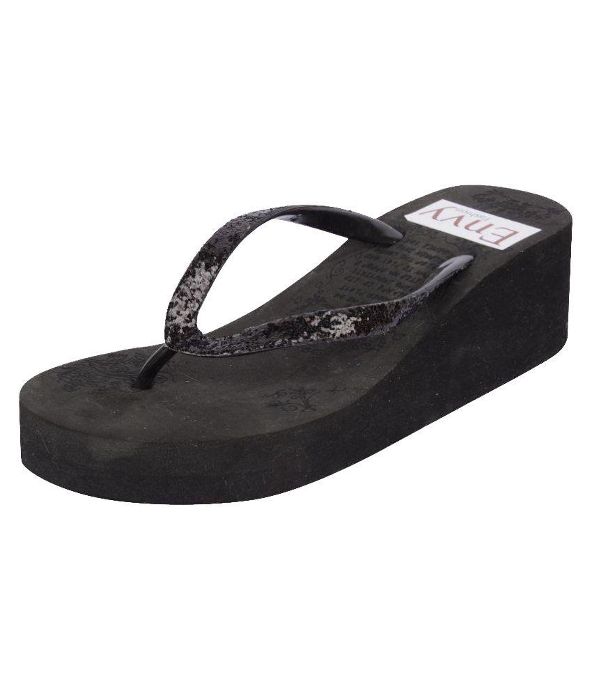 Envy Fashion Black Slippers