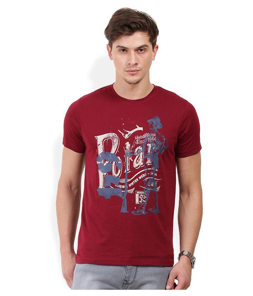 Hols Maroon Round T-Shirt
