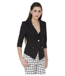 Cay Black Polyester Blend Blazers