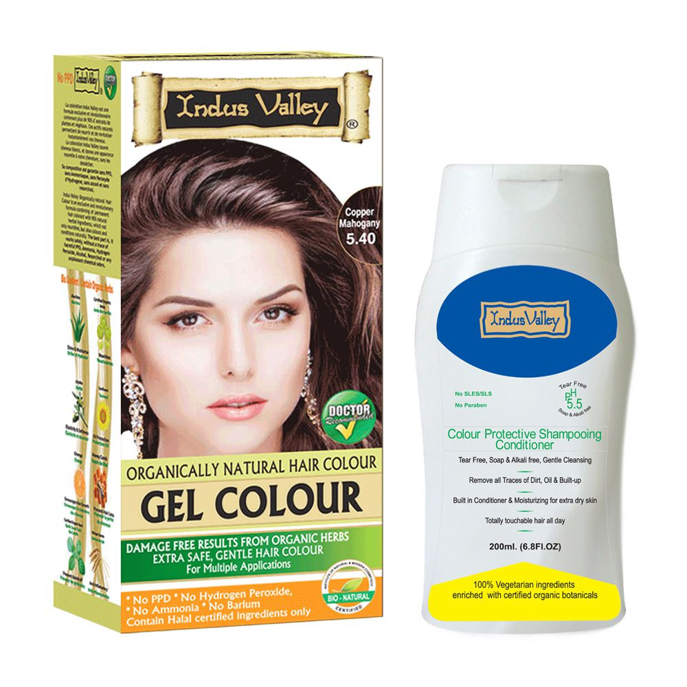 Indus valley Organically Natural Gel Copper Mahogany 5.40 Hair Color & Colour Protective Shampooing Conditioner- Combo Pack