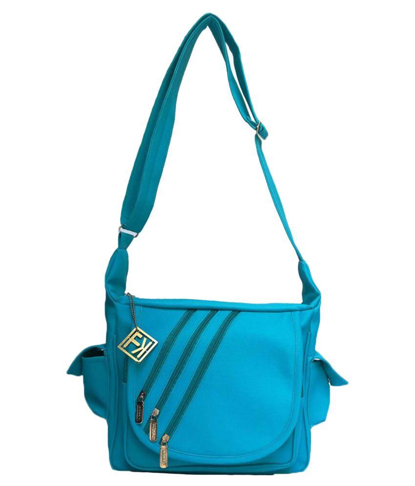 Fashion Knockout Sea Blue Faux Leather Sling Bag