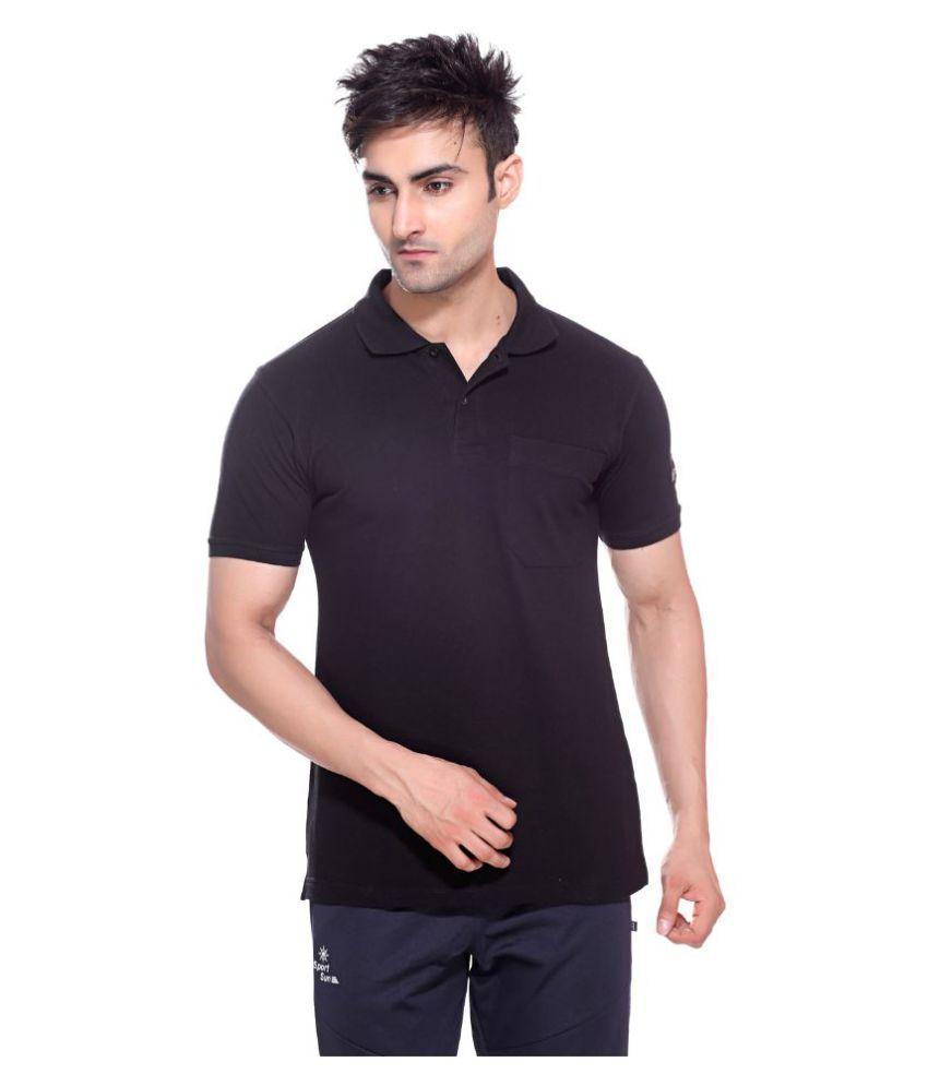 Sport sun black cotton polo t shirt buy sport sun black for Black cotton polo shirt
