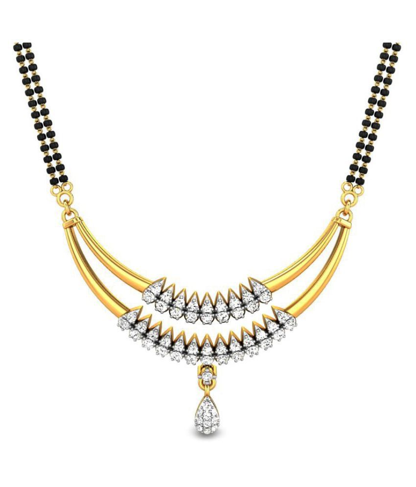 Candere 14k Yellow Gold Diamond Mangalsutra