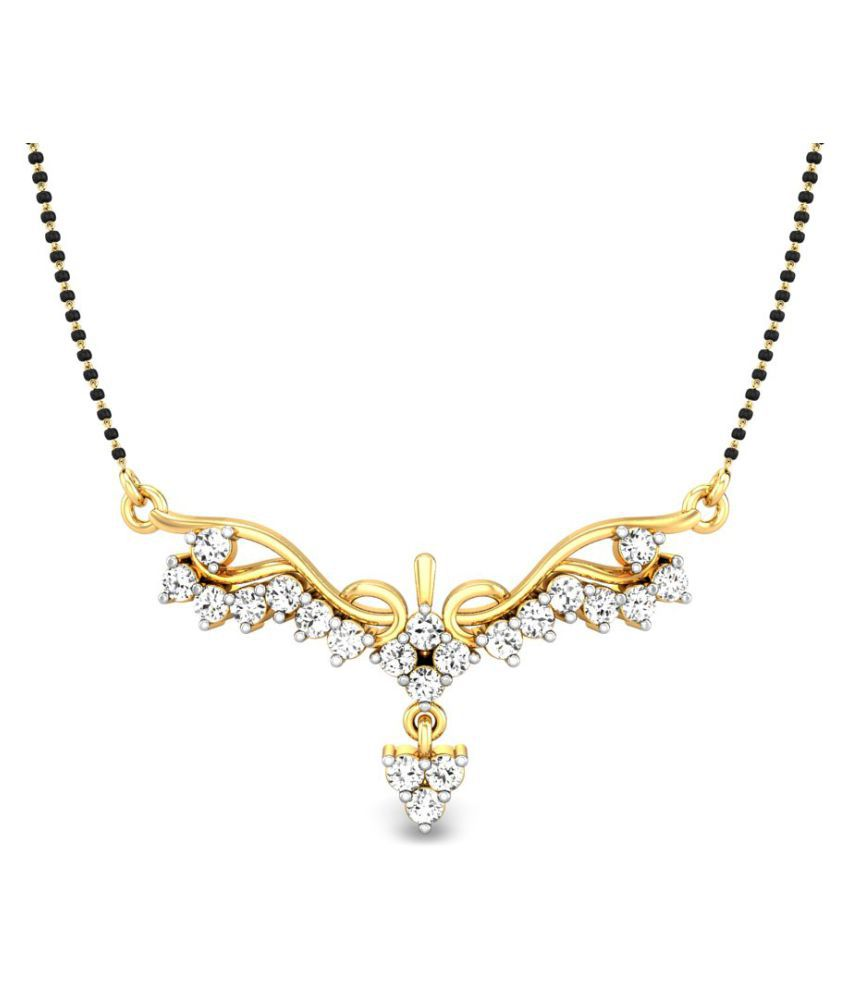 Candere 14k Yellow Gold Diamond Mangalsutra