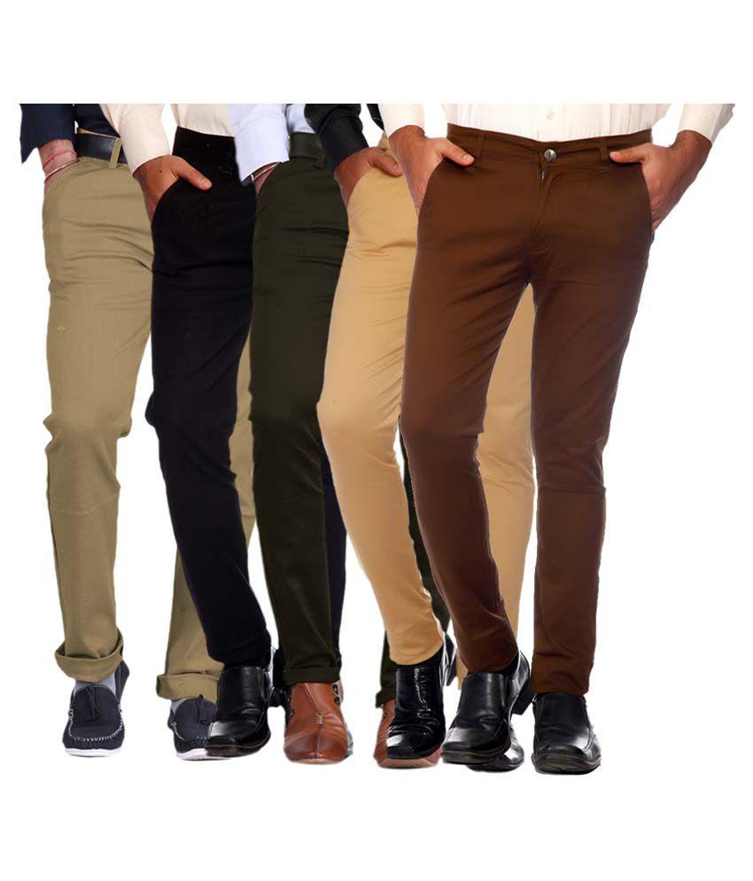 Van Galis Multicolored Slim Flat Trouser