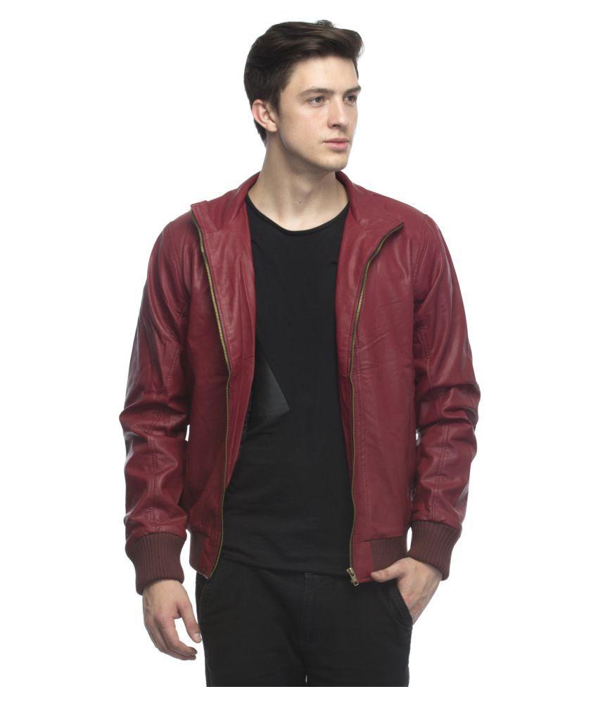 69b1a4c45 Lambency Maroon Leather Jacket Jacket