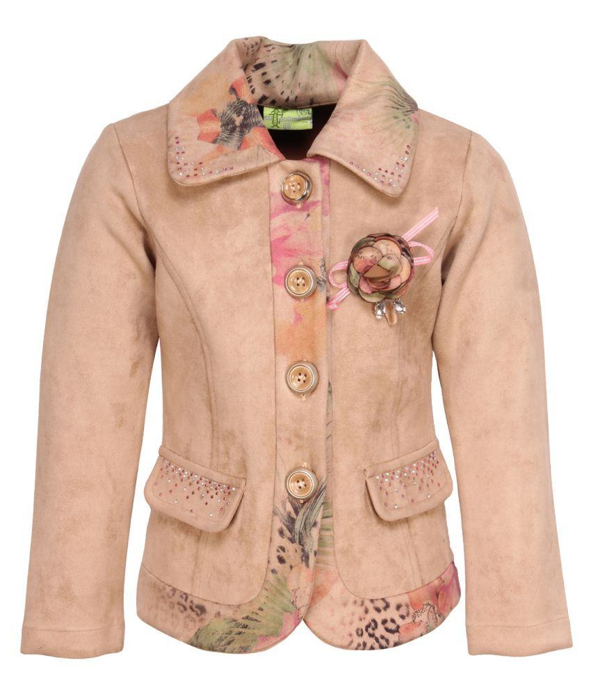 Cutecumber Girl's Pink Floral Printed Brown Coat