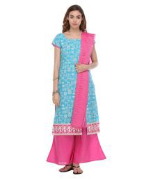 The Fashion Outlets Blue Cotton Dress Material - 635102829229