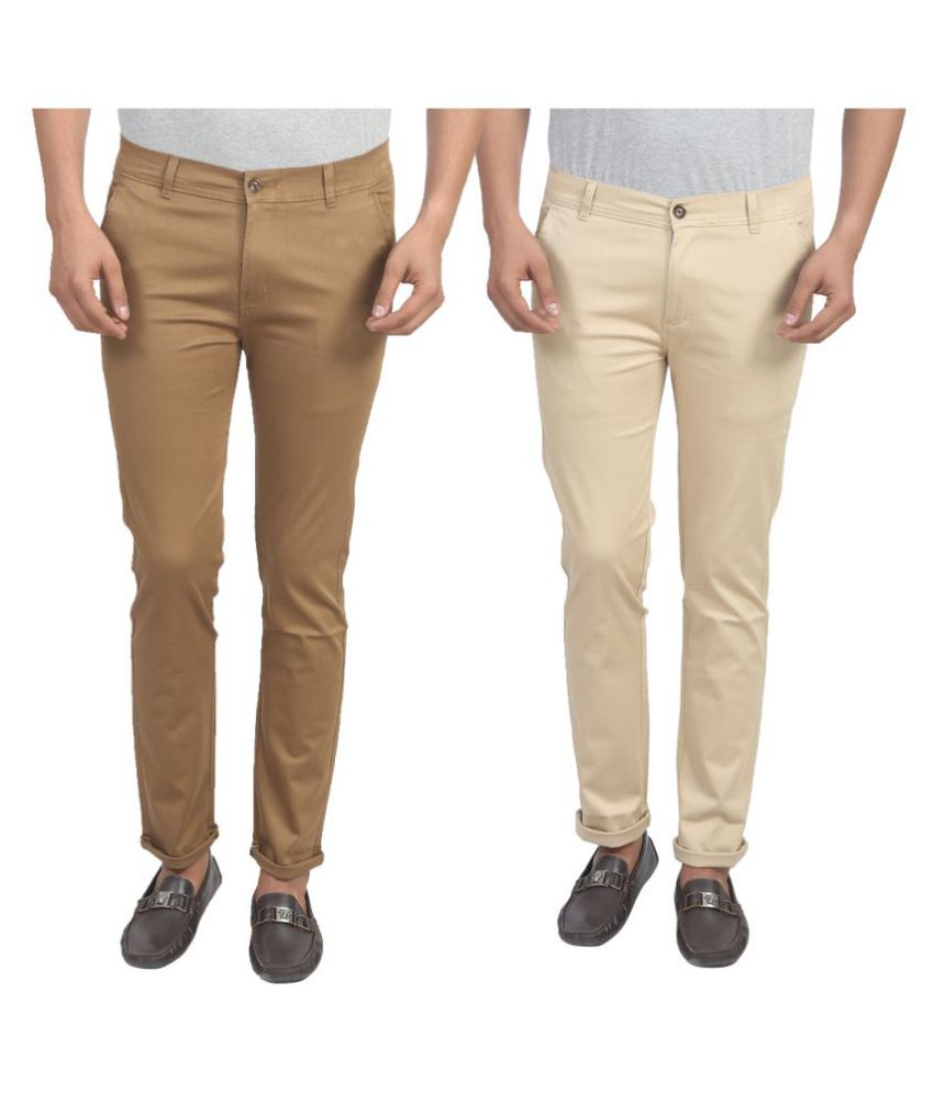 X-CROSS Multicolored Slim Flat Trouser