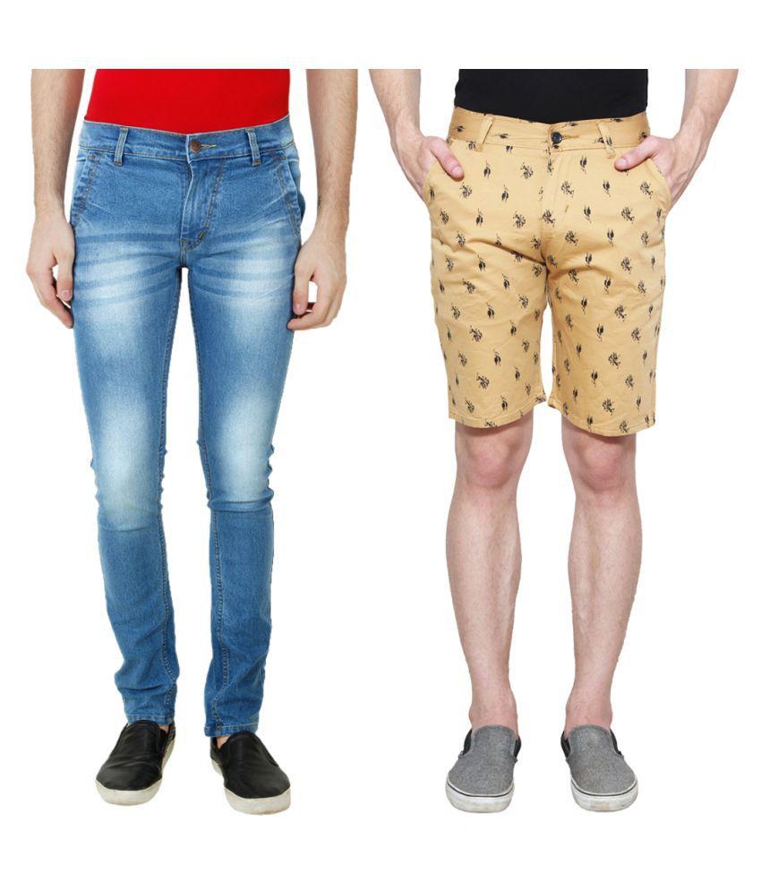 Ansh Fashion Wear Blue Regular Fit Basic with Shorts