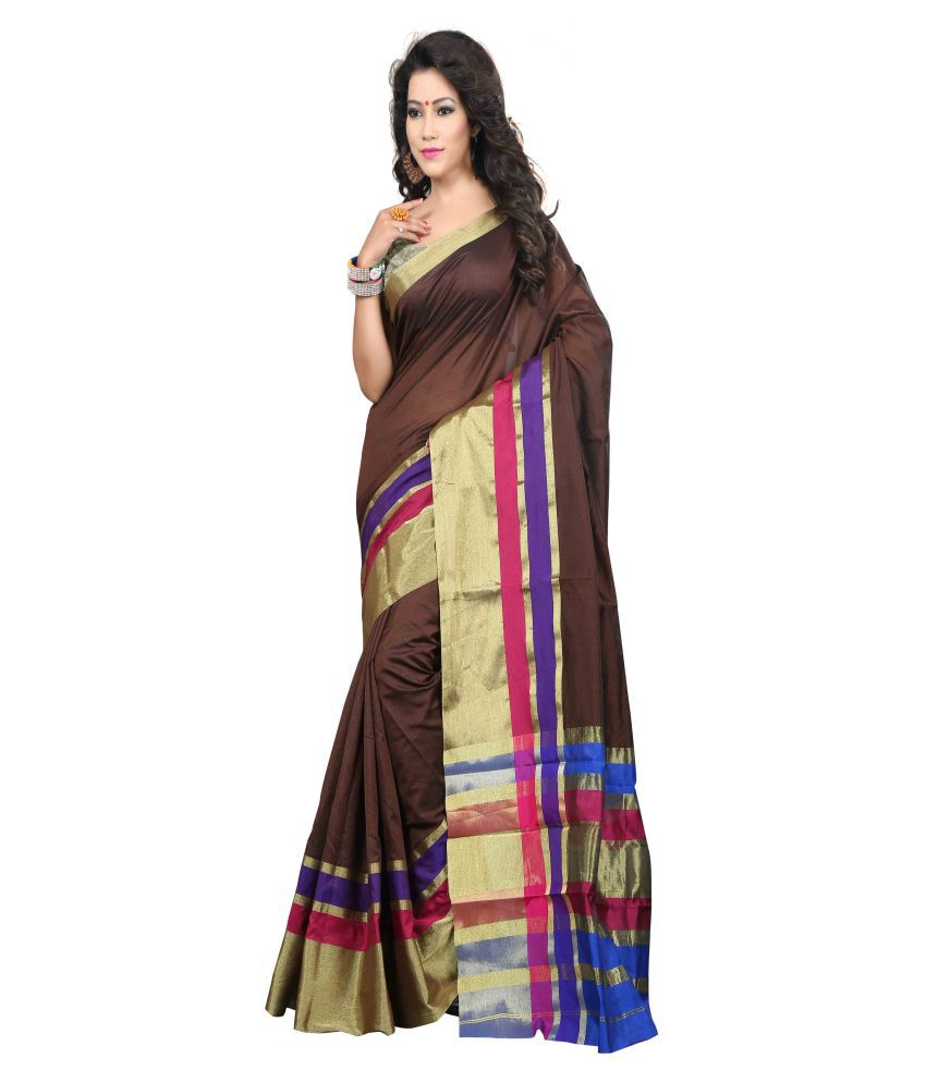 Ganga Shree Brown Kora Silk Saree