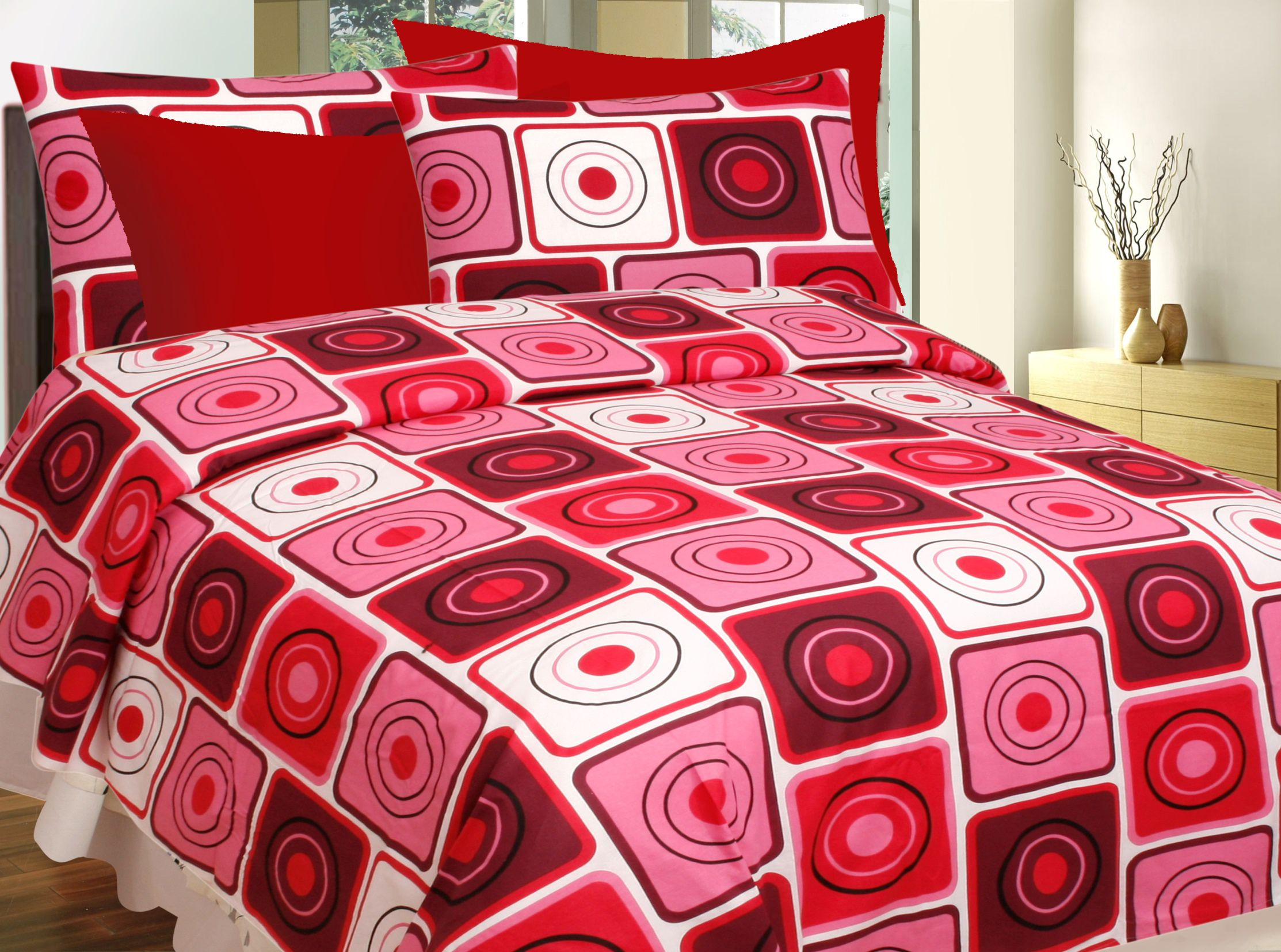 Divine Casa Pack of 4 Cotton Double Bedsheets with 8