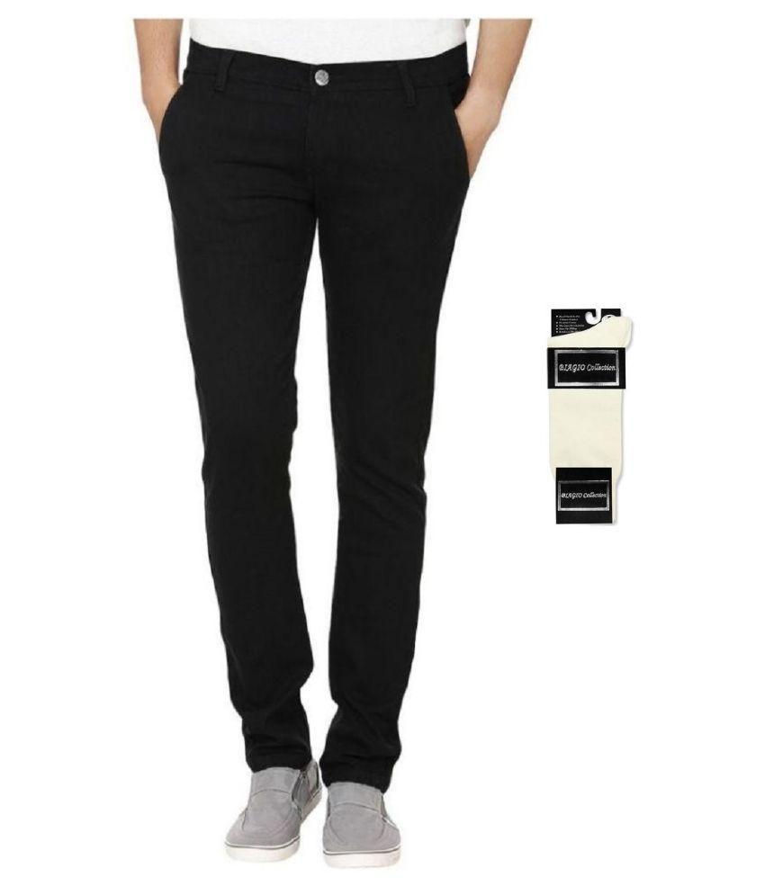 Urbano Fashion Black Slim Fit Stretch Jeans With Free 1 Pair Of White Socks