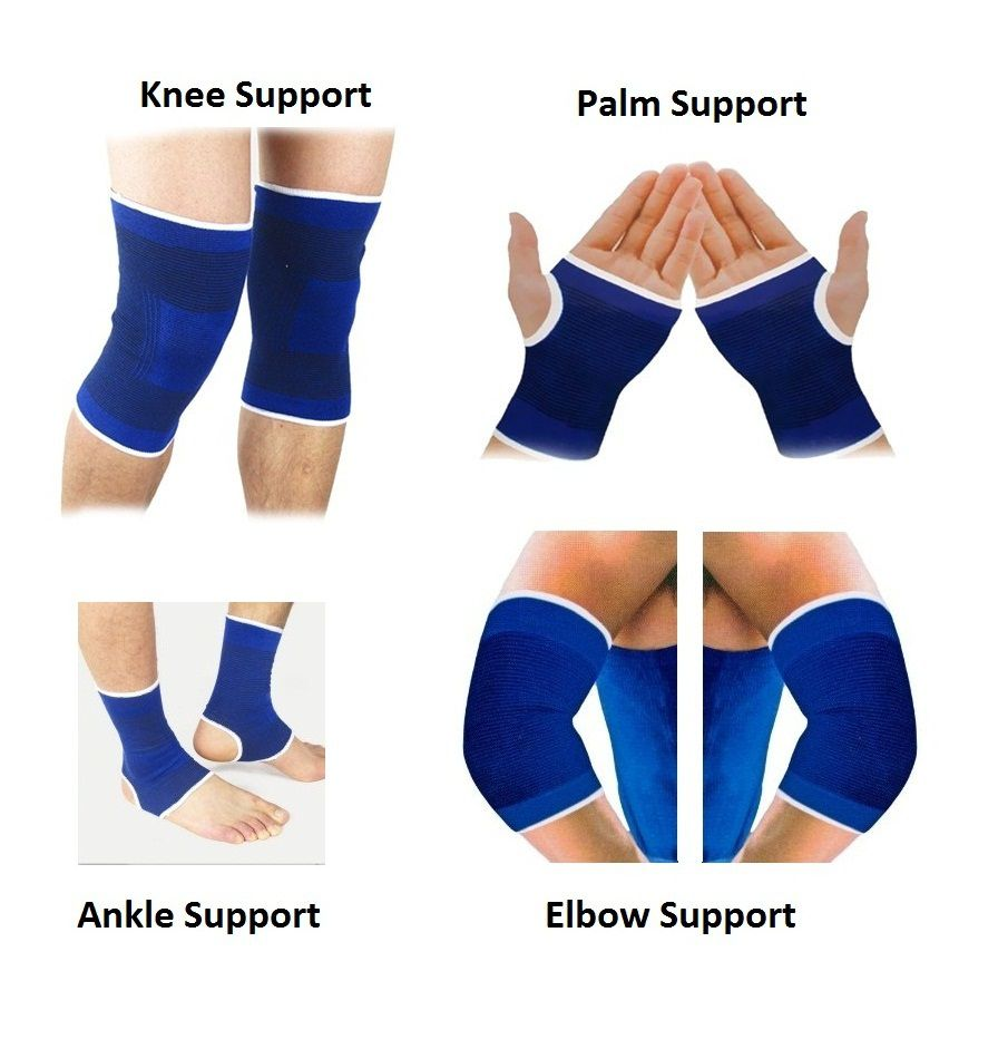 RW Fitness Combo of Pair of Ankle, Knee, Palm & Elbow Support