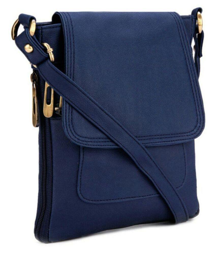 Aania Haute Blue Faux Leather Sling Bag