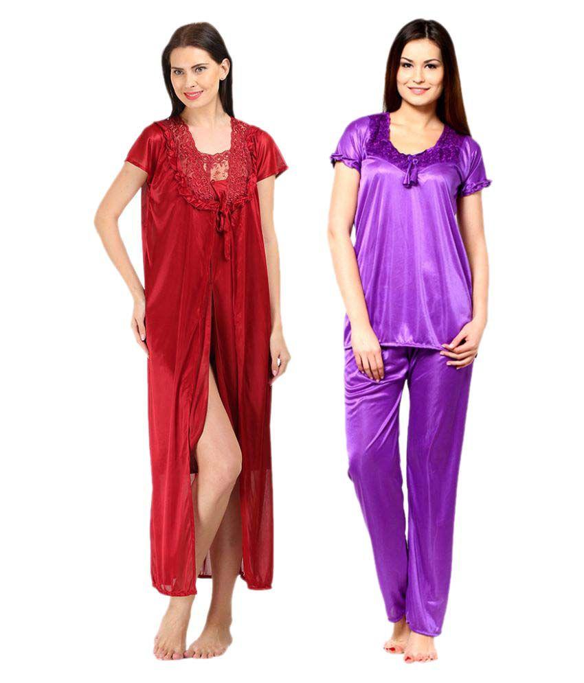 Fashion Beats Multi Color Satin Nightsuit Sets